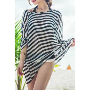 Sexy Halter Stripe Three Piece Swimsuit For Women