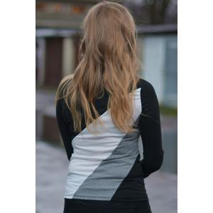Casual Round Collar Long Sleeve Spliced Color Block Women's T-shirt -