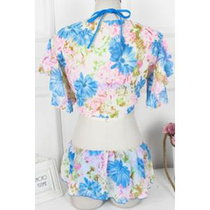 Sexy Halter Floral Print Ruffled Three-Piece Swimwear For Women -