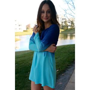 Stylish Scoop Collar Long Sleeve Ombre Color Women's Dress - BLUE S