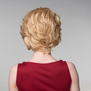 Elegant Side Bang Capless Fluffy Wavy Short Human Hair Wig -