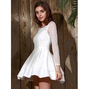 Long Sleeve Backless Skater Lace Graduation Dress - WHITE M