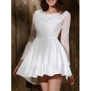 Long Sleeve Backless Skater Lace Graduation Dress