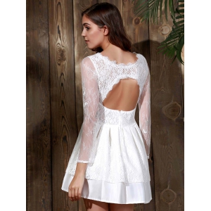 Long Sleeve Backless Short Skater Lace Graduation Dress - WHITE M