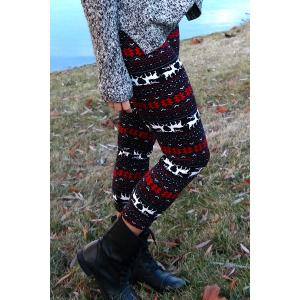 Trendy Women's High Waist Geometrical Print Hit Color Leggings - COLORMIX ONE SIZE(FIT SIZE XS TO M)
