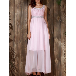 Sequin Chiffon Long Glitter Prom Evening Maxi Dress - Pink - L