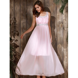 Sequin Chiffon Long Formal Prom Evening Dress - PINK S