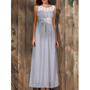 Sexy Scoop Collar Sleeveless Spliced Flower Pattern Women's Maxi Dress