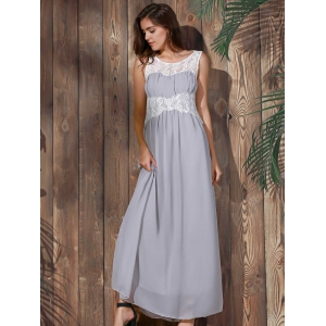 Sexy Scoop Collar Sleeveless Spliced Flower Pattern Women's Maxi Dress - GRAY M