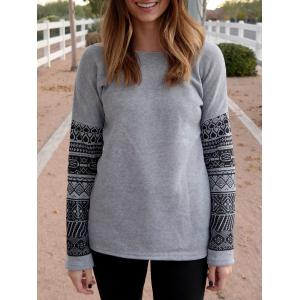 Casual Scoop Neck Geometric Print Spliced Thick Sweatshirt For Women