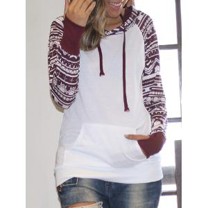 Chic Long Sleeve Geometrical Hooded Color Block Hoodie For Women