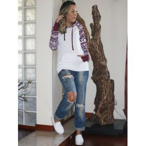 Chic Long Sleeve Geometrical Hooded Color Block Hoodie For Women - WHITE S