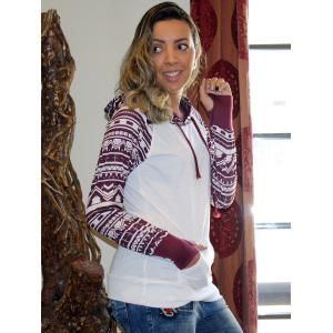 Chic Long Sleeve Geometrical Hooded Color Block Hoodie For Women - WHITE M