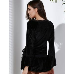 Gothic Style Sweetheart Neck Long Sleeve Pure Color Lace-Up Women's Blouse - BLACK M