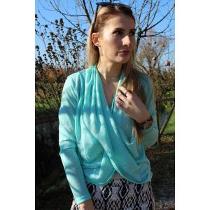 Stylish Solid Color Long Sleeve Cross Pullover Sweater For Women - AZURE S