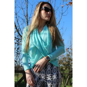 Stylish Solid Color Long Sleeve Cross Pullover Sweater For Women - AZURE XL