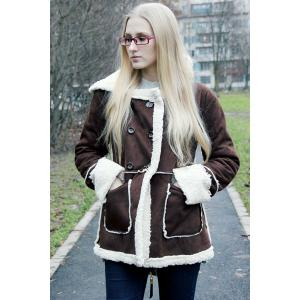 Hooded Faux Shearling  Coat -