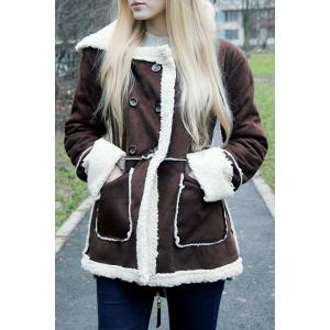 Hooded Faux Shearling  Coat