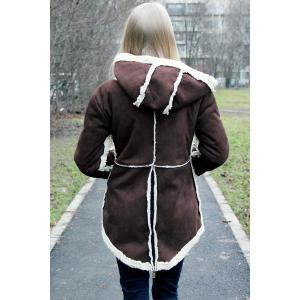 Hooded Faux Shearling  Coat - COFFEE M