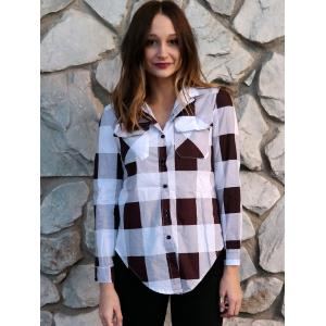 Long Sleeve Plaid Side Slit Button Up Shirt -