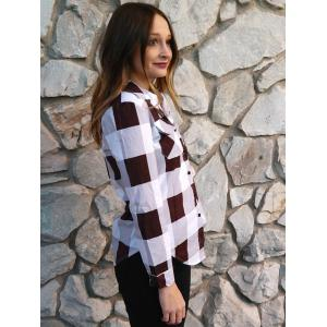 Long Sleeve Plaid Side Slit Button Up Shirt - DEEP RED S