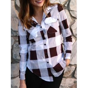 Long Sleeve Plaid Side Slit Button Up Shirt - Deep Red - L