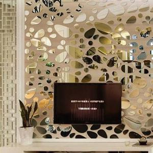 12 Pcs DIY Combination Type Pebble Mirror Wall Stickers Decor