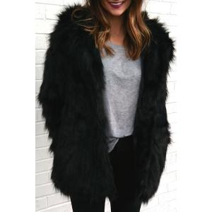 Hooded Faux Fur Bear Coat - Black - 2xl