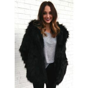 Hooded Faux Fur Bear Coat - BLACK S