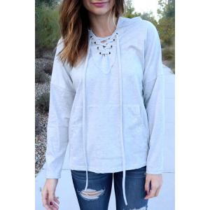 Stylish Hooded Long Sleeve Lace-Up Solid Color Women's Pullover Hoodie