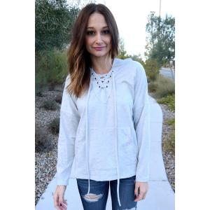Stylish Hooded Long Sleeve Lace-Up Solid Color Women's Pullover Hoodie - LIGHT GRAY S