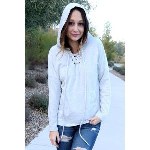 Stylish Hooded Long Sleeve Lace-Up Solid Color Women's Pullover Hoodie -