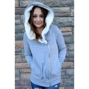 Korea Women Hoodie Jacket Coat Warm Outerwear hooded Zip -