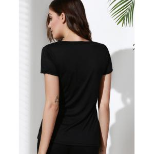 Brief Scoop Neck Rhinestone Embellished Short Sleeve T-Shirt For Women -
