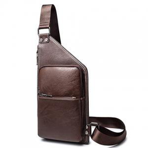 Casual Solid Colour and Zippers Design Messenger Bag For Men - COFFEE
