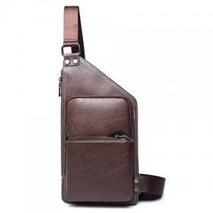 Casual Solid Colour and Zippers Design Messenger Bag For Men - Coffee - 38