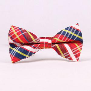 Stylish Tartan Check Pattern Bow Tie For Men - Red - M
