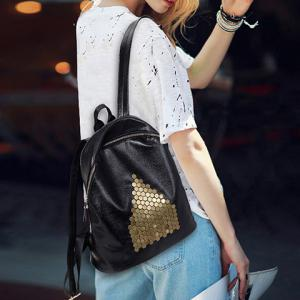 Casual Metal and Black Design Satchel For Women -
