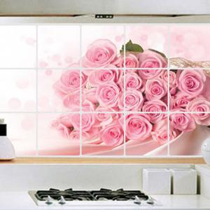 Fashion Rose Pattern Heat Resisting Kitchen Decoration Wall Stickers - PINK