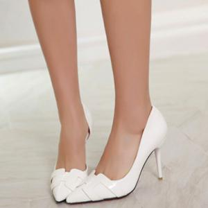 Trendy Solid Color and Patent Leather Design Pumps For Women -