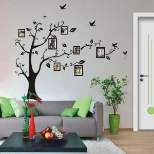Large Size Plant Pattern Photo Frame Wall Stickers - BLACK