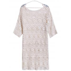 Sexy Scoop Neck 3/4 Sleeve Hollow Out Cover-Up For Women -
