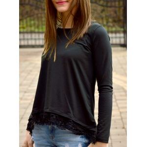 Stylish Lace Spliced Hem Long Sleeve T-Shirt For Women - Black - Xl