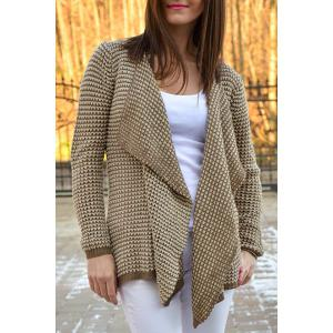 Casual Collarless Long Sleeve Knitted Cardigan For Women - Khaki - Xl