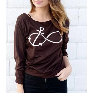 Casual Style Scoop Neck Long Sleeve Printed Women's T-Shirt - Deep Gray - S