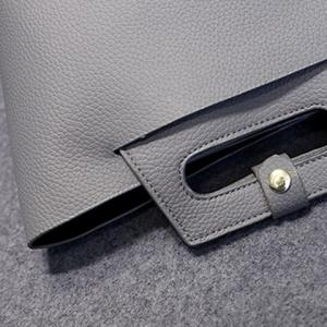 Elegant Solid Color and PU Leather Design Tote Bag For Women -