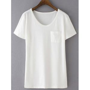 Casual Round Neck Short Sleeve Patchwork Pocket Women's T-Shirt