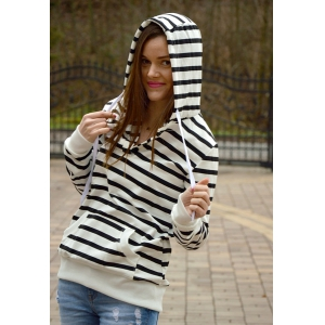 Fashionable Long Sleeves Striped Hoodie For Women - STRIPE XL