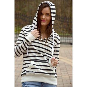 Fashionable Long Sleeves Striped Hoodie For Women -