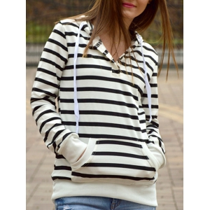 Fashionable Long Sleeves Striped Hoodie For Women - Stripe - Xl